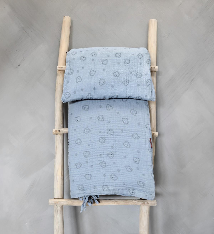 Baobaby muslin posteljina za krevetić, Blue Spikey
