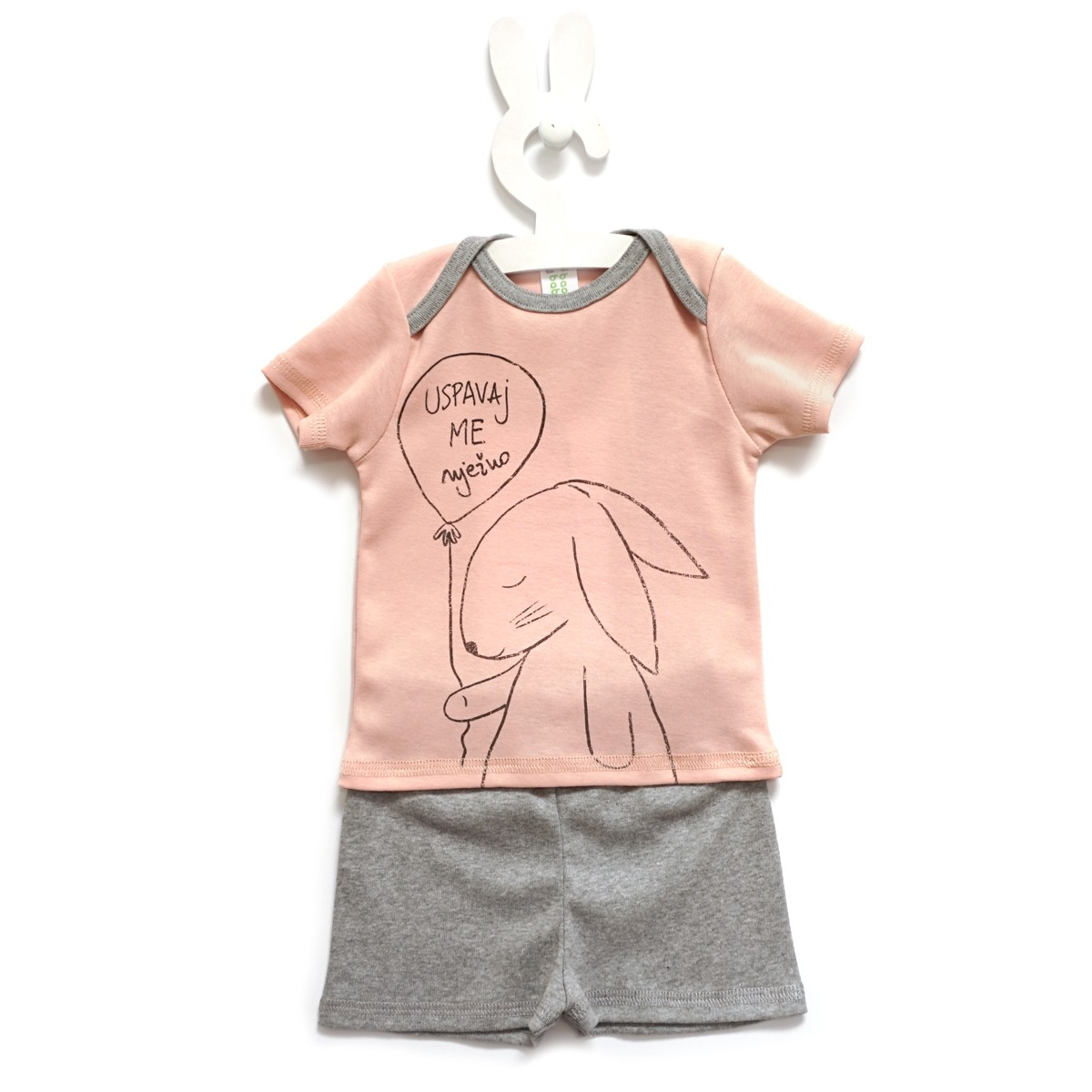 Baobaby pidžama KR - Uspavaj me nježno, rozo/siva
