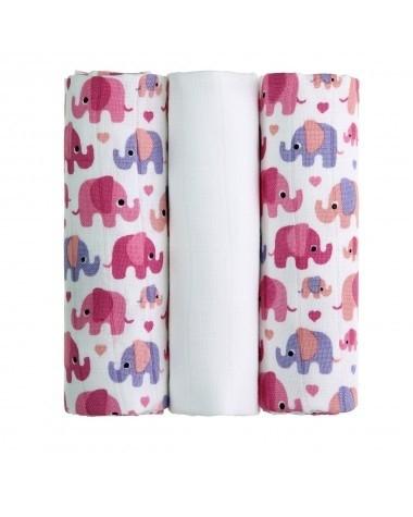 T-tomi BIO bambus tetra pelene (3 kom) - Rozi slonići